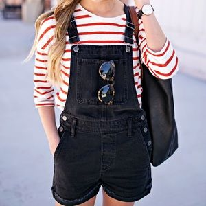 Madewell washed black short overalls